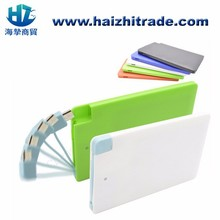 High quality customized logo power bank built-in usb cable credit card power bank