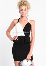 New Arrial Guangzhou Wholesale Dress for Women 2014 White and Black Peplum Dress