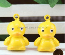 DIY handmade pendant jewelry charms,cartoon duck brass bells with yellow colored