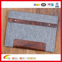 Mixed Design Innovative Products Wool Felt Case for Macbook, Durable High Quality Genuine Leather Felt Sleeve Wholesale