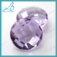 Factory direct sale double-checker lavender glass loose gemstone bead prices