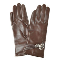 Delicate bowknot set auger decoration brown long leather gloves for women