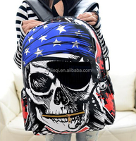 2015 New Fashion Skull Face school bag BACKpack pu leather