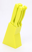 green color plastic handle 7 pcs knife set with pp block/green steak knife set