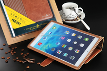 Brown color office genuine leather case for ipad air HH-IP621-12