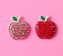 Hot selling apple flatback rhinestone button in stock (btn-5486)