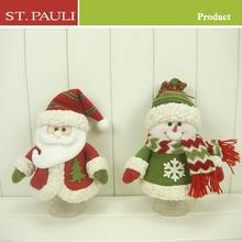 christmas decoration suppliers 9 inch plush santa and snowman christmas figure set of 2 clear plastic christmas candy jars