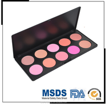 2015 hot sale 10 red blush makeup palette kit with black packaging