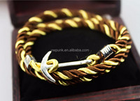 2015 newest design 55cm many colors rhinestone anchor clasp navy style DIY braided knitted weaved anti silver anchor bracelets