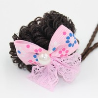 Wholesale HL-0337 Elastic Wig Hair Tie with Colorful Printed Ribbon Bow for Girls