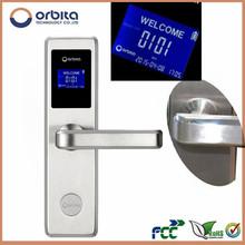 Pure stainless steel big LCD screen RF swipe card door locks and handles