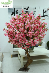 SJ H 2.5 meters Curved rod tree real look and touch artificial cherry blossom tree mixed color flower