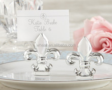 """Fleur de Lis"" Silver-Finish Place Card/Photo Holder"