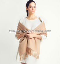 100% cashmere lady's double woven scarf with fringe macrame
