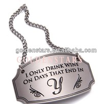 Wholesales supply custom engraved logo silver metal wine charm wine tags new wine promotion 2014