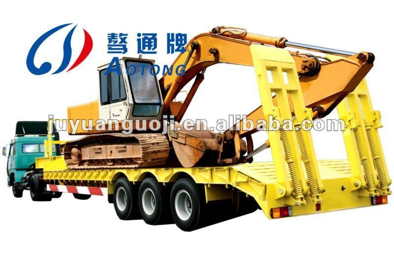 4 axles 80T heavy duty low deck flatbed lowboy truck trailer with hydraulic ladder