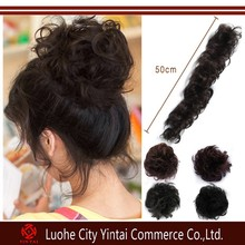 New arrival wholesale 3 Colors Stock Synthetic Hair Bun Extension, Long Curly Synthetic Hair Buns