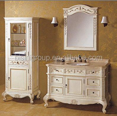 French Style Bathroom Vanity Set Antique White Bathroom Furniture Classic Elegant Bathroom
