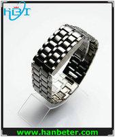 Men's hot volcanic lava iron samurai metal faceless japanese style led watch