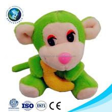 Low MOQ small size plush toy monkey with banana cheap cute stuffed mini plush toy monkey