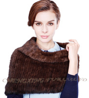 CX-B-M-68A 2015 Hot Selling Lady Scarf Real Mink Fur Knit Shawl