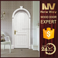 latest design solid interior round top arched wood door model
