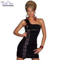 Free shipping 2015 Lady One Shoulder Sexy Night Club Dress