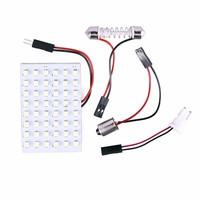 12V 48 SMD LED Panel Car Interior Light Bulb T10 Dome BA9S Adapter White #47090