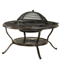 Outdoor Garden 4-Person Cast Aluminum Patio Deep Seating BBQ Fire Pit Table Chair Set