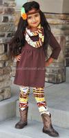 Boutique Kids 3Pcs Fall Aztec Sets Tunic & Legging Pant&Scarf Harvest Brown Boutique Set Adorable Fall Azetc Sets