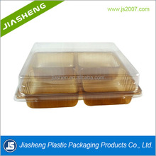 plastic clear PET cake food packaging box with clear lid and colorful tray