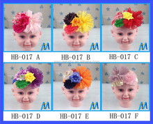 Hot Selling Fabric Flowers For Headbands Artificial Crystal Flower Girls Hair Accessories Fancy Baby Shabby Flower Headbands