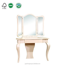 DR3003 Foldable mirror wooden white dresser for sale with 3 legs