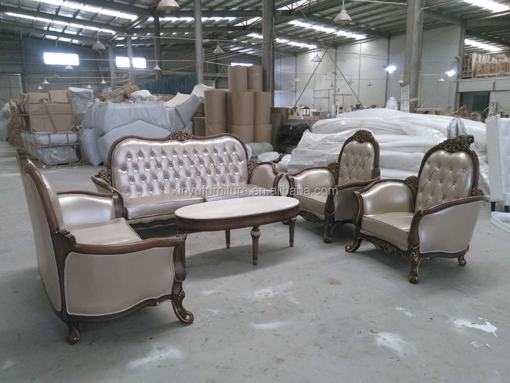 Vintage Style Wooden Sofa Set For Living Room Xyn2138