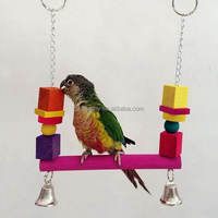 Colorful Wooden Cage Hanging Swing Parrot Bird Toys Beads Blocks Standing Bridge Budgie Cockatoo Funny Toy