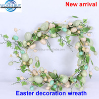 "16"" natural easter egg decorated wreath artificial easter flower Wreath"