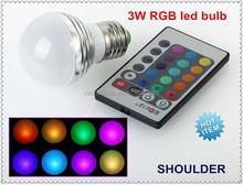 New arrival LED RGB lamp 1pcs/lot 3W E27 RGB LED Bulb 85-265V with Remote Control multiple colour led lighting