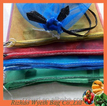 hdpe knitted vegetable fruit packaging black drawstring net bag