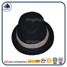 Black straw woven plain fedora hat with white ribbon custom