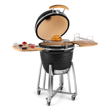 21 Inches Vertical Camping BBQ Grill Ceramic Kamado Grill