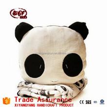 high quaility shy plush panda car travel blanket stuffed cushion