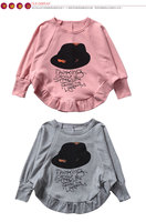 весна новая Детская Одежда для девочек летучей мыши рубашку печати буквы длинный рукав свитера