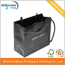 Printed logo glossy black paper shopping bags