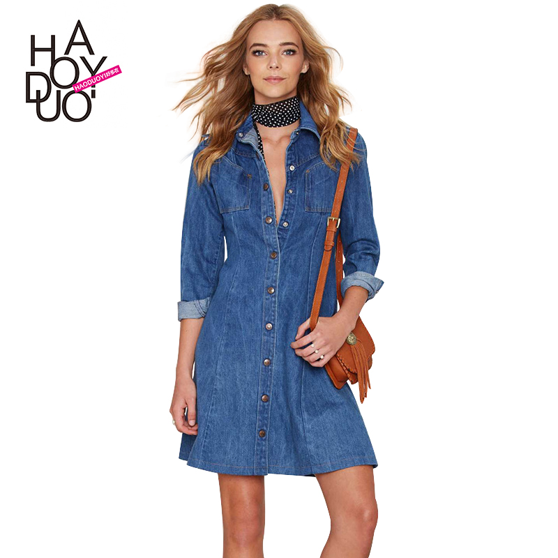 Beautiful Style Fashion Denim Dress Women Long Sleeve Ladies Casual Jeans Dress