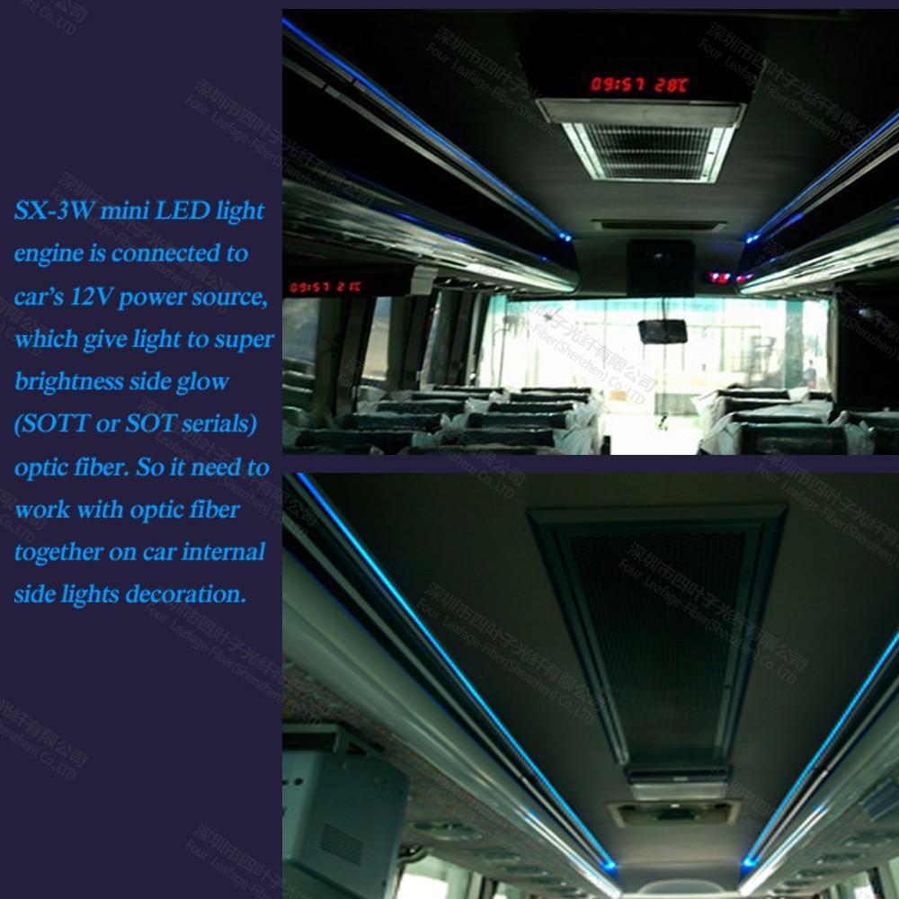 Mini 3w 12v Car Led Fiber Optic Projector Light Source Engine For Car Interior Lighting Steps