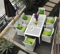 glass top rattan dining table and chair