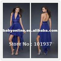 2012 New Style Sexy Blue Halter Front Short Back Long Chiffon Prom Dress