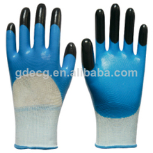 13g de poliéster cubierta de látex guantes de trabajo/recubierto de nitrilo guantes de seguridad