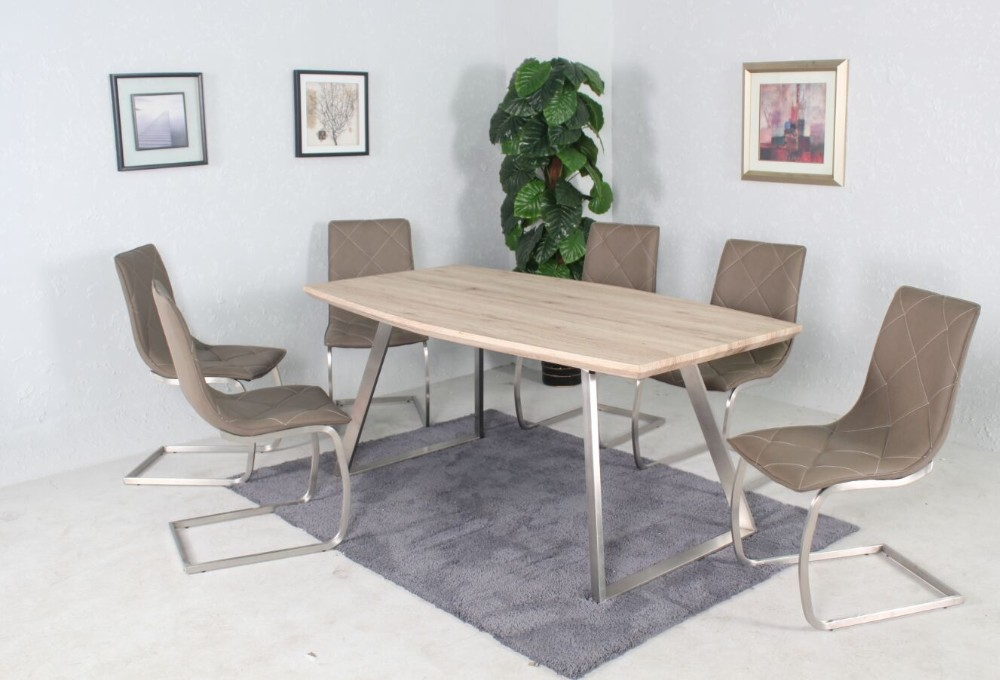 Dining Table Paper Veneer Top Or High Gloss And Brushed