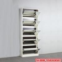 Melamine chipboard shoe rack with mirror